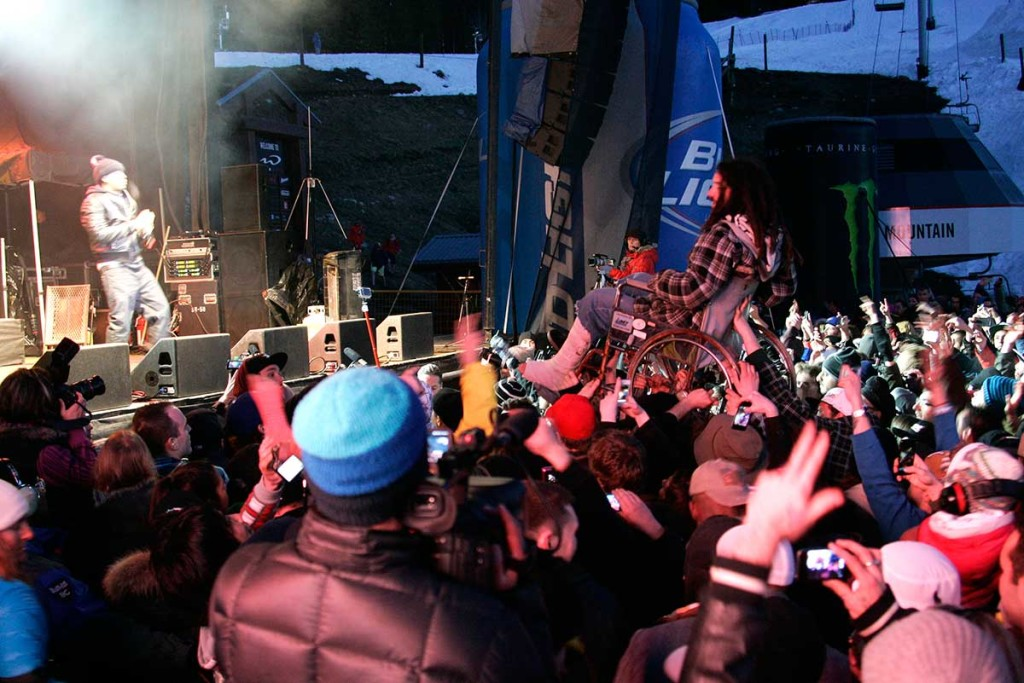 Crowd Surfing at the World Ski and Snowboard Festival