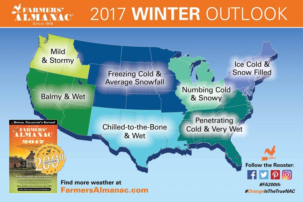 Farmers' Almanac 2017 Winter Prediction