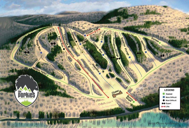 the porkies trail map